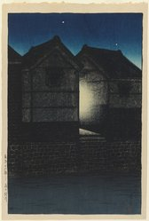 Kawase Hasui (Japanese, 1883-1957). <em>Shinkawa at Night, from the series Twelve Scenes of Tokyo</em>, 1919. Woodblock print, 15 3/8 x 10 5/16 in. (39 x 26.2 cm). Brooklyn Museum, Gift of Dr. Eleanor Z. Wallace in memory of her husband, Dr. Stanley L. Wallace, 2004.87.1. © artist or artist's estate (Photo: Brooklyn Museum, 2004.87.1_IMLS_PS3.jpg)