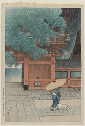 Kawase Hasui (Japanese, 1883-1957). <em>Early Summer Rain at the Sanno Shrine, from the series Twelve Scenes of Tokyo</em>, 1919. Woodblock print, 15 1/4 x 10 3/8 in. (38.8 x 26.3 cm). Brooklyn Museum, Gift of Dr. Eleanor Z. Wallace in memory of her husband, Dr. Stanley L. Wallace, 2004.87.2. © artist or artist's estate (Photo: Brooklyn Museum, 2004.87.2_IMLS_PS3.jpg)