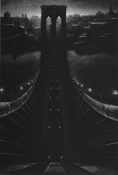 Richard C. Hardin (American, born 1956). <em>Brooklyn Bridge</em>, 1986. Mezzotint, Sheet: 35 x 23 3/4 in. (88.9 x 60.3 cm). Brooklyn Museum, Gift of Constance L. and Henry Christensen III, 2005.83. © artist or artist's estate (Photo: Brooklyn Museum, 2005.83_PS1.jpg)