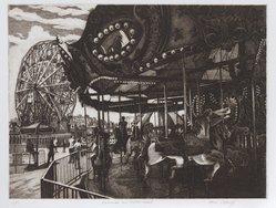 Alan Petrulis. <em>Carousel and Wonder Wheel</em>. Etching, 17 x 15 in. (43.2 x 38.1 cm). Brooklyn Museum, Gift of Stephen A. Fredericks, 2006.30.4. © artist or artist's estate (Photo: Brooklyn Museum, 2006.30.4_PS9.jpg)