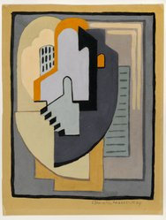 Blanche Lazzell (American, 1879-1956). <em>Abstract Composition</em>, 1924. Opaque watercolor and graphite on cream, thin, smooth wove paper mounted to board., 10 3/4 x 8 1/4 in. (27.3 x 21 cm). Brooklyn Museum, Gift of Dr. Abram Kanof and Theodore Keel, by exchange, Charles Stewart Smith Memorial Fund, and Dick S. Ramsay Fund, 2006.43.1. © artist or artist's estate (Photo: Brooklyn Museum, 2006.43.1_PS2.jpg)