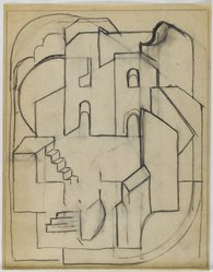 Blanche Lazzell (American, 1879-1956). <em>Sketch for Abstract Composition</em>, 1924. Graphite on cream, thin, smooth paper, Sheet: 10 5/8 x 8 1/4 in. (27 x 21 cm). Brooklyn Museum, Gift of Dr. Abram Kanof and Theodore Keel, by exchange, Charles Stewart Smith Memorial Fund, and Dick S. Ramsay Fund, 2006.43.2. © artist or artist's estate (Photo: Brooklyn Museum, 2006.43.2_after_treatment_PS4.jpg)