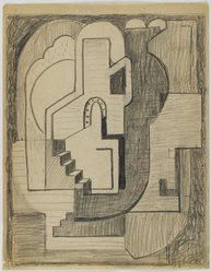 Blanche Lazzell (American, 1879-1956). <em>Sketch for Abstract Composition</em>, 1924. Graphite on cream, thin, smooth paper., Sheet: 10 5/8 x 8 1/4 in. (27 x 21 cm). Brooklyn Museum, Gift of Dr. Abram Kanof and Theodore Keel, by exchange, Charles Stewart Smith Memorial Fund, and Dick S. Ramsay Fund, 2006.43.7. © artist or artist's estate (Photo: Brooklyn Museum, 2006.43.7_after_treatment_PS4.jpg)