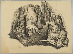 Dorothy Dehner (American, 1908-1994). <em>Collier Brothers:  Incident of the Early Spring (recto) and [Sketch] (verso)</em>, 1946. Ink and graphite on paper, Sheet (a, folded): 13 3/16 x 17 1/2 in. (33.5 x 44.5 cm). Brooklyn Museum, Gift of the Dorothy Dehner Foundation, 2007.14.2a-b. © artist or artist's estate (Photo: Brooklyn Museum, 2007.14.2a-b_PS2.jpg)