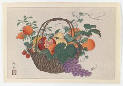 Taisu (Japanese, active 1930-1950). <em>Bamboo Basket with Fruit</em>, ca. 1926. Color woodblock print on paper, Sheet: 10 5/8 x 15 1/2 in. (27 x 39.4 cm). Brooklyn Museum, Gift of the Estate of Dr. Eleanor Z. Wallace, 2007.32.110. © artist or artist's estate (Photo: Brooklyn Museum, 2007.32.110_IMLS_PS3.jpg)