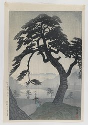 Kasamatsu Shiro (Japanese, 1898-1991). <em>Spring Rain at Kinokuni Mound</em>, Summer 1939. Color woodblock print on paper, Sheet: 15 3/8 x 10 5/8 in. (39.1 x 27 cm). Brooklyn Museum, Gift of the Estate of Dr. Eleanor Z. Wallace, 2007.32.13. © artist or artist's estate (Photo: Brooklyn Museum, 2007.32.13_IMLS_PS3.jpg)