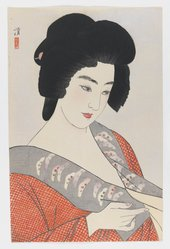 Kobayakawa Kiyoshi (Japanese, 1896-1948). <em>The Geisha Ichimaru</em>, ca. 1933. Color woodblock print with mica on paper, Sheet: 15 3/4 x 10 5/16 in. (40 x 26.2 cm). Brooklyn Museum, Gift of the Estate of Dr. Eleanor Z. Wallace, 2007.32.21. © artist or artist's estate (Photo: Brooklyn Museum, 2007.32.21_IMLS_PS3.jpg)