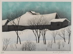 Sakamoto Koichi (Japanese, born 1932). <em>House in Snow Country</em>. Etching and mezzotint, 11 3/16 x 14 3/4 in. (28.4 x 37.5 cm). Brooklyn Museum, Gift of the Estate of Dr. Eleanor Z. Wallace, 2007.32.91. © artist or artist's estate (Photo: Brooklyn Museum, 2007.32.91_IMLS_PS4.jpg)