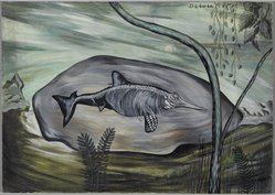 Dorothy Dehner (American, 1908-1994). <em>[Untitled] (Prehistoric Creature)</em>, 1945. Tempera on board, 9 7/8 x 14 in. (25.1 x 35.6 cm). Brooklyn Museum, Gift of the Dorothy Dehner Foundation, 2007.3. © artist or artist's estate (Photo: Brooklyn Museum, 2007.3_PS2.jpg)