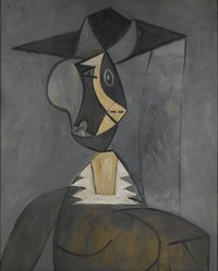 Pablo Picasso (Spanish, 1881-1973). <em>Woman in Gray (Femme en gris)</em>, 1942. Oil on panel, 39 1/4 x 31 7/8 in. (99.7 x 81 cm). Brooklyn Museum, Gift of the Alex Hillman Family Foundation in memory and in honor of Rita K. Hillman, 2008.43. © artist or artist's estate (Photo: Brooklyn Museum, 2008.43_PS2.jpg)