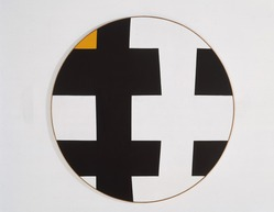 Leon Polk Smith (American, 1906-1996). <em>Black-White with Yellow</em>, 1953. Oil on canvas, diameter: 60 in. (152.4 cm). Brooklyn Museum, Bequest of Leon Polk Smith, 2011.12.4. © artist or artist's estate (Photo: , 2011.12.4_color_corrected_SL1.jpg)