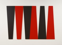 Leon Polk Smith (American, 1906-1996). <em>Arrangement in Black and Red</em>, 1980. Acrylic on canvas, 6 parts, overall: 120 x 180in. (304.8 x 457.2cm). Brooklyn Museum, Bequest of Leon Polk Smith, 2011.12.8a-f. © artist or artist's estate (Photo: , 2011.12.8a-f_SL3.jpg)