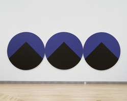 Leon Polk Smith (American, 1906-1996). <em>Midnight Pyramids (Midnight Teepees)</em>, 1986. Acrylic on canvas, 3 parts, each 80 in. diameter; overall: 80 × 240 in. (203.2 × 609.6 cm). Brooklyn Museum, Bequest of Leon Polk Smith, 2011.12.9a-c. © artist or artist's estate (Photo: , 2011.12.9a-c_SL3.jpg)