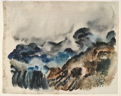 "Hale Woodruff (American, 1900-1980). <em>Rocky Mountain Landscape I</em>, ca.1936. Watercolor on paper, 14 x 18 in. (35.6 x 45.7 cm). Brooklyn Museum, Gift of Auldlyn Higgins Williams and E. T. Williams, Jr. in memory of their parents, Dr. I. Bradshaw Higgins and Hilda Moseley Higgins and Edgar T. ""Ned"" Williams and Elnora Bing Williams Morris, 2011.29.1. © artist or artist's estate (Photo: Brooklyn Museum, 2011.29.1_PS6.jpg)"