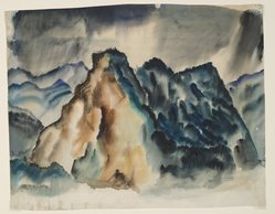 "Hale Woodruff (American, 1900-1980). <em>Rocky Mountain Landscape II</em>, ca.1936. Watercolor on paper, 14 x 18 in. (35.6 x 45.7 cm). Brooklyn Museum, Gift of Auldlyn Higgins Williams and E. T. Williams, Jr. in memory of their parents, Dr. I. Bradshaw Higgins and Hilda Moseley Higgins and Edgar T. ""Ned"" Williams and Elnora Bing Williams Morris, 2011.29.2. © artist or artist's estate (Photo: Brooklyn Museum, 2011.29.2_PS6.jpg)"