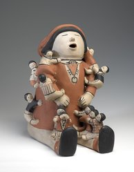 Helen Cordero (Ko-Tyit (Cochiti Pueblo), 1915-1994). <em>Storyteller Pottery Sculpture</em>, 1987. Clay, pigment, 12 x 8 1/4 x 10 in. (30.5 x 21 x 25.4 cm). Brooklyn Museum, Gift of Joann and Sidney Rosoff, 2012.26.1. © artist or artist's estate (Photo: Brooklyn Museum, 2012.26.1_front_PS9.jpg)