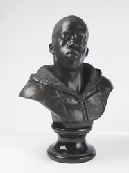 Kehinde Wiley (American, born 1977). <em>Houdon Paul-Louis</em>, 2011. Bronze with polished stone base, 34 x 26 x 19 in. (86.4 x 66 x 48.3 cm). Brooklyn Museum, Frank L. Babbott Fund and A. Augustus Healy Fund, 2012.51. © artist or artist's estate (Photo: Brooklyn Museum, 2012.51_threequarter_PS9.jpg)