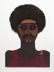 Marie Johnson Calloway (American, 1920 - 2018). <em>Witchdoctor II</em>, ca. 1970. Mixed media (plywood, pigment, human hair, fabric, metal, plastic), 33 1/2 × 24 × 1 1/2 in. (85.1 × 61 × 3.8 cm). Brooklyn Museum, Gift of R.M. Atwater, Anna Wolfrom Dove, Alice Fiebiger, Joseph Fiebiger, Belle Campbell Harriss, and Emma L. Hyde, by exchange, Designated Purchase Fund, Mary Smith Dorward Fund, Dick S. Ramsay Fund, and  Carll H. de Silver Fund, 2012.80.20. © artist or artist's estate (Photo: Brooklyn Museum, 2012.80.20_PS11.jpg)