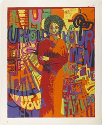 Carolyn Lawrence (American, born 1940). <em>Uphold Your Men</em>, 1971. Color screenprint, sheet: 30 x 24 in. (76.2 x 61 cm). Brooklyn Museum, Gift of R.M. Atwater, Anna Wolfrom Dove, Alice Fiebiger, Joseph Fiebiger, Belle Campbell Harriss, and Emma L. Hyde, by exchange, Designated Purchase Fund, Mary Smith Dorward Fund, Dick S. Ramsay Fund, and  Carll H. de Silver Fund, 2012.80.27. © artist or artist's estate (Photo: Brooklyn Museum, 2012.80.27_PS4.jpg)
