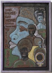Howard Mallory (American, 1930-2012). <em>We Must Go Home</em>, ca. 1970. Glazed and painted stoneware construction in artist-made frame, 34 x 24 in. (86.4 x 61 cm). Brooklyn Museum, Gift of R.M. Atwater, Anna Wolfrom Dove, Alice Fiebiger, Joseph Fiebiger, Belle Campbell Harriss, and Emma L. Hyde, by exchange, Designated Purchase Fund, Mary Smith Dorward Fund, Dick S. Ramsay Fund, and  Carll H. de Silver Fund, 2012.80.29. © artist or artist's estate (Photo: , 2012.80.29_PS11.jpg)
