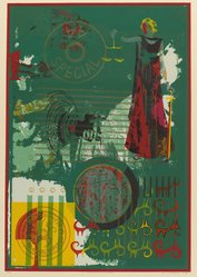 John T. Riddle (American, 1933-2002). <em>Justice in the Americas</em>, 1980. Screenprint on paper, Image: 31 1/2 x 21 1/2 in. (80 x 54.6 cm). Brooklyn Museum, Gift of R.M. Atwater, Anna Wolfrom Dove, Alice Fiebiger, Joseph Fiebiger, Belle Campbell Harriss, and Emma L. Hyde, by exchange, Designated Purchase Fund, Mary Smith Dorward Fund, Dick S. Ramsay Fund, and  Carll H. de Silver Fund, 2012.80.38. © artist or artist's estate (Photo: Brooklyn Museum, 2012.80.38_PS6.jpg)