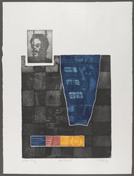 Frank Sharpe (American, born 1942). <em>Man: Amnesty</em>, 1970. Mixed media print on paper (etching, aquatint and embossing), Sheet: 29 1/2 x 22 1/2 in. (74.9 x 57.2 cm). Brooklyn Museum, Gift of R.M. Atwater, Anna Wolfrom Dove, Alice Fiebiger, Joseph Fiebiger, Belle Campbell Harriss, and Emma L. Hyde, by exchange, Designated Purchase Fund, Mary Smith Dorward Fund, Dick S. Ramsay Fund, and  Carll H. de Silver Fund, 2012.80.39. © artist or artist's estate (Photo: Brooklyn Museum, 2012.80.39_PS4.jpg)
