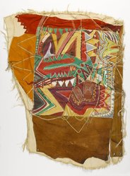 Frank Smith (American, born 1935). <em>Banner for a New Black Nation</em>, 1978. Fabric, leather, suede, paint, thread, metallic covered thread, graphite, metal rivets, 37 × 27 × 1/4 in. (94 × 68.6 × 0.6 cm). Brooklyn Museum, Gift of R.M. Atwater, Anna Wolfrom Dove, Alice Fiebiger, Joseph Fiebiger, Belle Campbell Harriss, and Emma L. Hyde, by exchange, Designated Purchase Fund, Mary Smith Dorward Fund, Dick S. Ramsay Fund, and  Carll H. de Silver Fund, 2012.80.40. © artist or artist's estate (Photo: Brooklyn Museum, 2012.80.40_PS6.jpg)