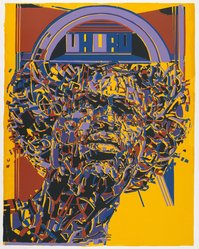 Nelson Stevens (American, born 1938). <em>Uhuru</em>, 1971. Screenprint on paper, Sheet: 40 x 30 in. (101.6 x 76.2 cm). Brooklyn Museum, Gift of R.M. Atwater, Anna Wolfrom Dove, Alice Fiebiger, Joseph Fiebiger, Belle Campbell Harriss, and Emma L. Hyde, by exchange, Designated Purchase Fund, Mary Smith Dorward Fund, Dick S. Ramsay Fund, and  Carll H. de Silver Fund, 2012.80.41. © artist or artist's estate (Photo: Brooklyn Museum, 2012.80.41_PS6.jpg)