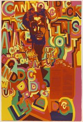 Gerald Williams (American, born 1941). <em>Wake Up</em>, 1971. Screenprint on paper, Sheet: 42 x 28 in. (106.7 x 71.1 cm). Brooklyn Museum, Gift of R.M. Atwater, Anna Wolfrom Dove, Alice Fiebiger, Joseph Fiebiger, Belle Campbell Harriss, and Emma L. Hyde, by exchange, Designated Purchase Fund, Mary Smith Dorward Fund, Dick S. Ramsay Fund, and  Carll H. de Silver Fund, 2012.80.44. © artist or artist's estate (Photo: Brooklyn Museum, 2012.80.44_PS6.jpg)
