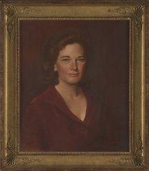 Thomas Scharman Buechner (American, 1926-2010). <em>Portrait of Jeanne Cotten Blum</em>, 1970. Oil on canvas, 23 1/2 x 19 1/2 in. (59.7 x 49.5 cm). Brooklyn Museum, Gift of Mr. and Mrs. John R.H. Blum, 2013.84. © artist or artist's estate (Photo: Brooklyn Museum, 2013.84_PS9.jpg)