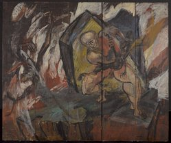 Franklin Watkins (American, 1894-1972). <em>Painting on Folding Screen</em>, ca. 1938. Oil on wood, each panel: 72 x 17 in. (182.9 x 43.2 cm). Brooklyn Museum, Gift of Arnold and Pamela Lehman, 2015.37. © artist or artist's estate (Photo: Brooklyn Museum, 2015.37_PS9.jpg)