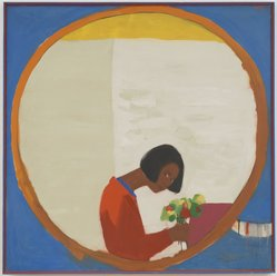 Emma Amos (American, born 1937). <em>Flower Sniffer</em>, 1966. Oil on canvas, 50 × 50 in. (127 × 127 cm). Brooklyn Museum, William K. Jacobs, Jr. Fund, 2017.35. © artist or artist's estate (Photo: , 2017.35.jpg)