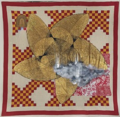 Sanford Biggers (American, born 1970). <em>7 Heavens</em>, 2013. Quilt, acrylic, spray paint, fabric, found objects, 92 1/4 × 93 1/2 × 1 in. (234.3 × 237.5 × 2.5 cm). Brooklyn Museum, Gift of Sugar Hill Capital Partners, 2017.49.1. © artist or artist's estate (Photo: , 2017.49.1_PS11.jpg)