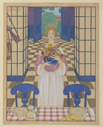 Georges Lepape (French, 1887-1971). <em>Summer Dining Room</em>. Watercolor, 11 11/16 x 9 1/4 in.  (29.7 x 23.5 cm). Brooklyn Museum, Gift of Otto H. Kahn through the Committee for the Diffusion of French Art, 21.22. © artist or artist's estate (Photo: Brooklyn Museum, 21.22_PS2.jpg)