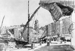 Alexandre Urbain (French, 1875-1953). <em>Seaport, South of France, Port de Provence</em>. Watercolor Brooklyn Museum, Caroline H. Polhemus Fund, 22.68. © artist or artist's estate (Photo: Brooklyn Museum, 22.68_glass_bw.jpg)