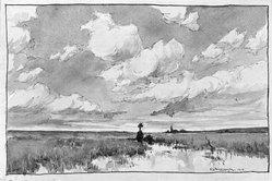 Lucien Seevagen (French, 1887-1959). <em>The Marsh</em>. Watercolor Brooklyn Museum, Gift of Edward C. Blum, 23.59. © artist or artist's estate (Photo: Brooklyn Museum, 23.59_glass_bw.jpg)