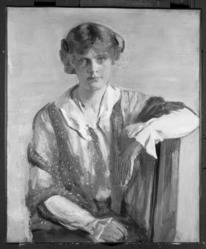 Kenneth Frazier (American, 1867-1949). <em>Portrait of a Woman</em>, ca. 1930. Oil on canvas, 30 1/16 x 25 1/16 in. (76.4 x 63.6 cm). Brooklyn Museum, Museum Collection Fund, 24.99.2. © artist or artist's estate (Photo: Brooklyn Museum, 24.99.2_bw.jpg)