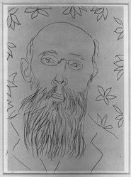 Henri Matisse (French, 1869-1954). <em>Portrait of Bourgeat</em>. Etching on China paper laid down, 7 1/16 x 5 1/8 in. (18 x 13 cm). Brooklyn Museum, 25.124. © artist or artist's estate (Photo: Brooklyn Museum, 25.124_acetate_bw.jpg)
