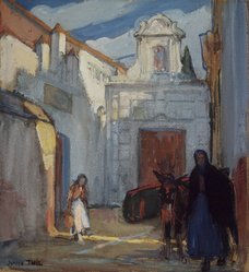 Jeanne Thil (French, 1887-1968). <em>San Clemente a Seville</em>, 20th century. Watercolor, Mat opening: 13 3/16 x 12 3/16 in. (33.5 x 31 cm). Brooklyn Museum, Gift of Walter H. Crittenden, 25.351. © artist or artist's estate (Photo: Brooklyn Museum, 25.351.jpg)
