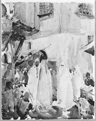 Paul Ludwig Gill (American, 1894-1938). <em>Near the Bazaars, Algiers</em>, 20th century. Watercolor, Image: 11 7/16 x 9 7/16 in. (29 x 24 cm). Brooklyn Museum, Gift of Frank L. Babbott, 25.518 (Photo: Brooklyn Museum, 25.518_bw.jpg)