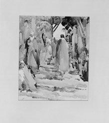 Paul Ludwig Gill (American, 1894-1938). <em>Rue Djed Algiers</em>, 20th century. Watercolor, Image: 11 5/16 x 9 7/16 in. (28.8 x 24 cm). Brooklyn Museum, Gift of Frank L. Babbott, 25.519 (Photo: Brooklyn Museum, 25.519_glass_bw.jpg)