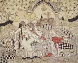 Eugene Dunkel (American, born Russia, 1890-1972). <em>Thousand and One Nights</em>, 1923. Watercolor, Image: 16 1/8 x 19 7/8 in. (41 x 50.5 cm). Brooklyn Museum, Museum Collection Fund, 25.531. © artist or artist's estate (Photo: Brooklyn Museum, 25.531_transp6321.jpg)
