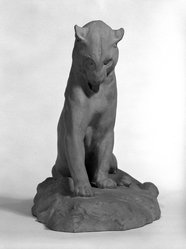 Eugene-Antoine Borga. <em>Lion</em>. Terracotta, 14 x 18 x 8 in. (35.6 x 45.7 x 20.3 cm). Brooklyn Museum, Gift of Walter H. Crittenden, 25.914 (Photo: Brooklyn Museum, 25.914_front_bw.jpg)