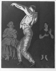 Laura Knight (British, 1877-1970). <em>Spanish Dancer No. 2</em>, 1923. Etching and aquatint, Sheet: 18 1/2 x 11 5/16 in. (47 x 28.7 cm). Brooklyn Museum, Museum Collection Fund, 25.923. © artist or artist's estate (Photo: Brooklyn Museum, 25.923_bw.jpg)