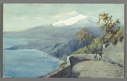 Charles King Wood (American). <em>View of Mount Etna from Taormina, Sicily</em>, 1925. Watercolor on paper mounted on paperboard, 14 x 22 5/8 in. (35.5 x 57.5 cm). Brooklyn Museum, Gift of Mrs. Frederic B. Pratt, 26.54. © artist or artist's estate (Photo: Brooklyn Museum, 26.54_PS2.jpg)