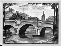 Richard Francis Lahey (American, 1893-1979). <em>Pont Neuf, Paris</em>, 20th century. Watercolor, Sheet: 14 1/4 x 19 1/2 in. (36.2 x 49.5 cm). Brooklyn Museum, Museum Collection Fund, 27.188. © artist or artist's estate (Photo: Brooklyn Museum, 27.188_glass_bw.jpg)