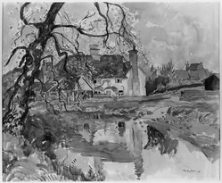Hayley Lever (American, 1876-1958). <em>English Farmhouse</em>. Watercolor, Sheet: 15 x 18 in. (38.1 x 45.7 cm). Brooklyn Museum, Museum Collection Fund, 27.196. © artist or artist's estate (Photo: Brooklyn Museum, 27.196_acetate_bw.jpg)