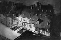 Loren Roberta Barton (American, 1893-1975). <em>Night in Berne</em>. Watercolor, 11 1/4 x 16 1/2 in. (28.5 x 41.9 cm). Brooklyn Museum, Museum Collection Fund, 27.200. © artist or artist's estate (Photo: Brooklyn Museum, 27.200_acetate_bw.jpg)
