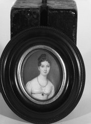 Dagoty. <em>Miniature of Eliza Wiederholdt</em>. Painting (miniature), 2 5/8 x 2 1/8 in.  (6.7 x 5.4 cm). Brooklyn Museum, Gift of Mrs. E. Barnier-Shaw, 27.30 (Photo: Brooklyn Museum, 27.30_framed_front_bw.jpg)