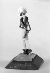 Luis Hidalgo (Mexican, born 1901). <em>Figure of a Flapper on Snow</em>, 20th century. Wax, 9 1/16 x 5 5/16 x 5 1/8 in. (23 x 13.5 x 13 cm). Brooklyn Museum, Museum Collection Fund, 27.656. © artist or artist's estate (Photo: Brooklyn Museum, 27.656_bw.jpg)